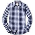 CQR Women's Classic Fit Button Up Shirts, 100% Cotton Long Sleeve Casual Poplin Shirt, Poplin(wol502) - Magnetic Blue, X-Large