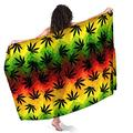 Marijuana Cannabis Leaves Sarong Wraps for Women Beach Swimsuit Cover Up Plus Size Pareo Pool Party Shawl Wrap Skirt Scarf for Swimming Vacation Pool