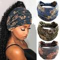 VFlowee Women Boho Headbands Wide Bandeau Knot Turban Boho Print Headband Bandana Elastic Non-slip Head Wrap Stylish Workout Hair bands (d)