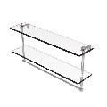 22-in Two Tiered Glass Shelf with Integrated Towel Bar in Satin Nickel