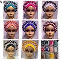 Classic African Auto Gele Styles Women Fashion Wedding Headwear Plain Handmade Auto Gele Nigerian Headwear Turban Head Wraps - Blue