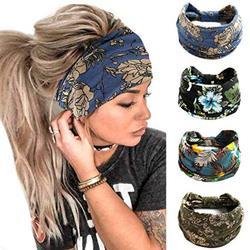 Cutify Headbands for Women, Wide Boho Headbands Elastic Bandana Non-Slip Sweat Fashion Headwraps Hair Bands Headwear Fit All Head Sizes for Yoga, Workout, Sports, Running 4Pcs (Set1)
