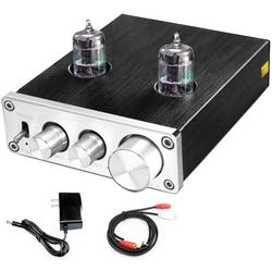Preamplifier, Vacuum Tube Amplifier Buffer Mini Hi-Fi Stereo Preamp with Treble & Bass Tone Control for Home Audio Player (6K4 Tubes)