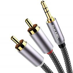 rca to 3.5mm, dukabel braided 3.5mm to rca cable 2-male rca to aux cable 99.99% 4n-ofc 1/8 to rca stereo cable audiophiles headphone rca cable [24k gold-plated & double-shielded] -top series(4ft/1.2m)