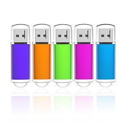 K&ZZ 32GB USB Flash Drive 5 Pack Thumb Drives 32 GB Memory Stick Gig Drive USB 2.0 Pen Drive Fold Data Storage USB Sticks (5 Mixed Color)