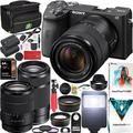 Sony a6600 Mirrorless Camera 4K APS-C ILCE-6100MB with 2 Lens Kit 18-135mm + 55-210mm and Deco Gear Case + Extra Battery + Flash + Wide Angle & Telephoto Lens + Filter Kit + 64GB Accessories Bundle