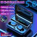[Bluetooth5.0,CVC8.0 Noise Canceling]TWS Bluetooth Earbuds Waterproof Bluetooth5.0 Earphones Wireless Sport Headset Noise Cancelling HIFI Headphones Gaming Headsets with Charging Case