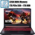 "2020 Premium Acer Nitro 5 15 Gaming Laptop I 15.6"" FHD IPS Display I 9th Gen Intel Quad-Core i5-9300H I 32GB DDR4 1TB PCIe SSD 1TB HDD I GeForce GTX 1650 I Backlit KB Bluetooth 5.0 HDMI Win 10"