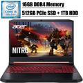 "2020 Premium Acer Nitro 5 15 Gaming Laptop I 15.6"" FHD IPS Display I 9th Gen Intel Quad-Core i5-9300H I 16GB DDR4 512GB PCIe SSD 1TB HDD I GeForce GTX 1650 I Backlit KB Bluetooth 5.0 HDMI Win 10"