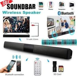 Sound Bar, TV Sound Bar W/Built-in Subwoofer & Clock, Wired & Wireless Bluetooth 5.0 Home Theater TV Speaker Bar,Mini Bluetooth Sound Bar with Bass 3D Surround Sound for PC/Phones/Tablets