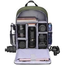 """Camera Backpack Bag with Laptop Compartment 15.6"""" for DSLR/SLR Mirrorless Camera Waterproof, Camera Case Compatible for Sony Canon Nikon Camera and Lens Tripod Accessories Green"""
