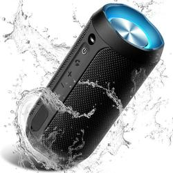 Waterproof Bluetooth Wireless Speaker with Colorful LED Light, Portable Party Speaker with 24W Dual Driver 3.0x3.0x6.5inch