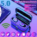 Wireless Bluetooth 5.0 Earbuds TWS Bluetooth Earphones CVC8.0 Noise Cancelling Wireless Bluetooth Headphones Sport Waterproof Bluetooth Headset Touch Control Mini Earbuds with Power Bank Chaging Case