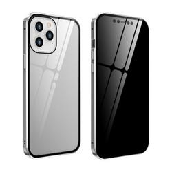 Anti-Peeping Full Body Case Clear Tempered Glass Metal Bumper Protection Privacy Cover For Iphone 12/Iphone 12 Max/Iphone 12 Pro/Iphone 12 Pro Max