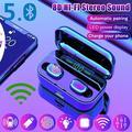 TWS Bluetooth Earphones CVC8.0 Noise Cancelling Wireless Bluetooth Headphones Sport Waterproof Bluetooth Headset Touch Control Mini Earbuds with Power Bank Chaging Case(single/ double earphone)