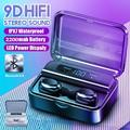 [9D HiFi Surround Sound] TWS Earphones Wireless Bluetooth 5.0 Stereo Earbuds Sport Waterproof Headphones Touch Control Dual Headsets Mini Earbuds with With Power Bank Chaging Case 2200mAh