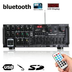 1200W 12V/110V Power Amplifier bluetooth Audio Amplifier 2 Channel EQ Equalizer HiFi Stereo Amp Support FM Radio for Car Home