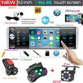Multimedia Car Stereo Single Din Car Radio 4.1 Inch Digital Screen Bluetooth Audio and Hands Free Calling FM Radio Receiver MP5 Player Support AUX TF USB Remote Control 8 Led Rear View Camera