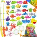 40 PCS Magnetic Fishing Toys Game Set for Kids Water Table Bathtub kiddie Pool Party with Pole Rod Net, Plastic Floating Fish - Toddler Learning all Size Color Ocean Sea Animals age 3 4 5 6 Year Old