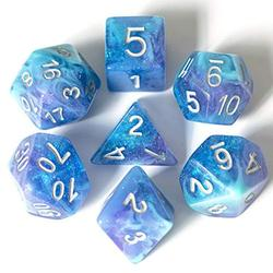 UDIXI 7PCS Polyhedral Dice, D&D Dice, Sparkle Galaxy DND Dice Set- for Role Playing Dice Games as Dungeons and Dragons RPG MTG Table Games? (Purple&Blue&Green)