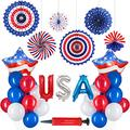 ADEALINK American Independence Day Holiday Decoration Aluminum Film Balloon Five-Pointed Star Flag Foil Balloon Set