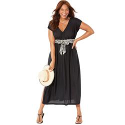 Plus Size Women's Stephanie V-Neck Cover Up Maxi Dress by Swimsuits For All in Black Snow Leopard (Size 14/16)