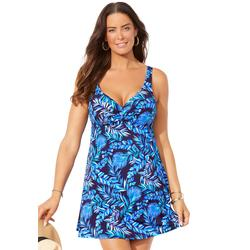 Plus Size Women's Sweetheart Underwire Swimdress by Swimsuits For All in Blue Mint Palm (Size 14)