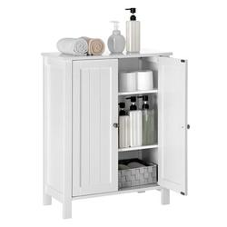 Bathroom Floor Storage Cabinet Freestanding Side Storage Cabinet with Double Door Adjustable Storage Shelf Multifunctional Storage Cabinets for Home Office 23.5 x 11.8 x 31.5 inch White