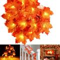 TANGS Fall Garland Thanksgiving Decor Lights - Autumn Maple Leaf 20 Ft & 40 Led Battery String Lights Fairy Thanksgiving Decoration Light for Christmas Halloween Holiday Party Home Indoor Outdoor