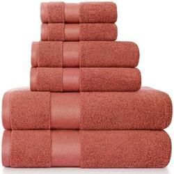 qizhongtrade 6 Piece 100% Cotton Towel Set 100% Cotton in Orange, Size 55.0 W in   Wayfair ZYC7308YDMH3B1-07