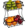 Prep & Savour 2 Tier Fruit Basket, Fruit Bowls For Kitchen Counter, Detachable Fruit Holder, Storage Basket For Fruits & Vegetables & Snacks in Black