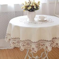 Canora Grey Round Table Cloth Flower Embroidered Lace Tablecloth Wrinkle Free & Stain Resistant Fabric Tablecloths Table Cover For Kitchen Dinner