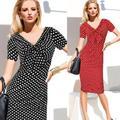 Robe de soirée élégante et Sexy à pois pour femmes, col en v, moulante, Vintage, années 40, 50, été,