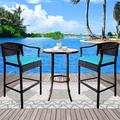 Patio Bistro Set, 3 Piece Outdoor High Top Table and Chair Set, Wicker Bar Height Bistro Sets with Glass Top Table and High Bar Stools, Patio Furniture Conversation Set for Backyard Balcony, J1926