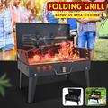 Portable 17'' Foldable Charcoal Grill Barbecue BBQ w/ 1x Fork Shovel Tools With Handles For Garden Camping Picnics Cooking
