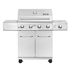 Monument Grills 25392 – 4-Burner Propane Gas Grill in Stainless with LED Controls & Side Burner