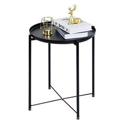 Tray Metal Round Side End Table Black Folding Side Table for Outdoor or Indoor Use,Anti-Rust and Waterproof Nightstand/Sofa Tables,Patio Side Table?Accent Coffee Table (20.517.3inch)