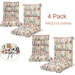 44x21 inch Outdoor Chair Cushion, 2/4pcs High Back Chair Cushions Patio Garden High Rebound Foam Chair Cushion Waterproof Polyester Seat Cushions or Home Patio Garden Decor