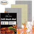 BBQ Grill Mesh Mat Set of 3 Non Stick BBQ Mesh Grill Mats Teflon Grilling Mats Nonstick Fish Vegetable Smoker Mats for Grill - Works on Gas, Charcoal, Electric Barbecue 15.75x13inch(2 black+1 Copper)