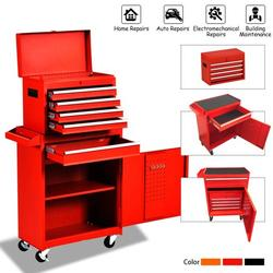 Tool Storage Cabinet&Tool Chest,Tool Cabinet with 4 Wheels,Tool Chest with 5 Drawers,Large Capacity Removable Toolbox with Lock for Garage and Warehouse-Red