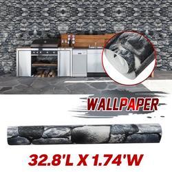 "3D Stone Wallpaper 21"" X 394"" Decoration Stone Wallpaper Stone Contact Paper Removable Wallpaper Wall Paper for Home Decor TV Wall PVC Roll"