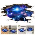 Amaonm Creative 3D Blue Cosmic Galaxy Wall Decals Removable PVC Magic 3D Milky Way Outer Space Planet Window Wall Stickers Murals Wallpaper Decor for Home Walls Floor Ceiling Boys Room Kid