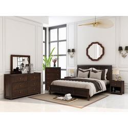 Classic Rich Brown 6 Pieces Full Bedroom Set ( Full Bed + Nightstand*2+ Dresser + Chest + Mirror) * Wayfair��上此SKU,�独上架床和柜��组�到一起