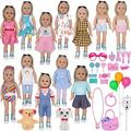 ZTWEDEN 40Pcs Doll Clothes and Accessories for 18 Inch Girl Doll Including 18'' Baby Dolls Wear ClothesSuit Dress Bikini Underwear Glasses Bag Necklace Bracelet Dog for 18 Inch Girl Baby Doll