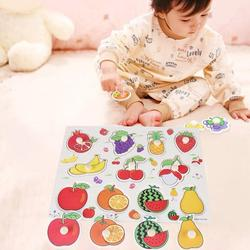 Octpeak Wooden Cognitive Puzzle,Knob Wooden Puzzle,Number/Animal/Fruit Wooden Cognitive Knob Puzzle Kids Educational Learning Toy with Hand Grip