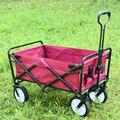 Heavy Duty Collapsible Folding All Terrain Utility Wagon Beach Cart - Camping Grocery Canvas Sturdy Portable Buggies Outdoor Garden Sport Heavy Duty Shopping Beach Wide Push Pull Cart