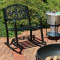Sunnydaze Outdoor Rocking Chair - Durable Cast Iron and Steel Construction - Traditional Fleur-de-Lis Design - Outside Front Porch Furniture - Perfect Chair for Patio, Deck, Backyard or Garden