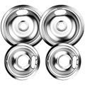 W10196405 and W10196406 Chrome Burner Drip Pan Bowls Replacement By AMI PARTS Fits Whirlpool Electric Range Cooktop Includes 2 8-Inch and 2 6-Inch Pans