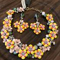 J. Crew Jewelry   J Crew. Floral Crystal Necklace And Earrings Set   Color: Yellow   Size: Os
