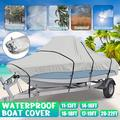 Trailerable Boat Cover, Waterproof Heavy Duty Heavy Duty Boat Cover Anti-UV Trailerable Cover Silvery Gray Weather Protection